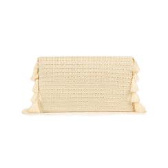 Pochette bianca in raffia, Borse, 155122434RFBIANUNI, 003 preview