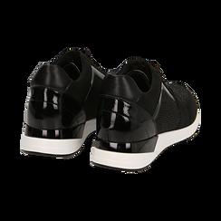 Sneakers nere in tessuto tecnico, zeppa 4 cm , Primadonna, 162826824TSNERO036, 004 preview