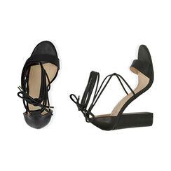 Sandali lace-up neri, tacco 10,50 cm , Primadonna, 172760851EPNERO035, 003 preview