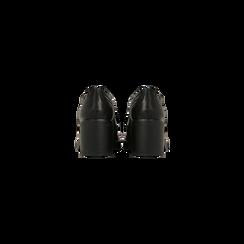Francesine stringate nera, tacco 4 cm, Scarpe, 120683011EPNERO, 003 preview