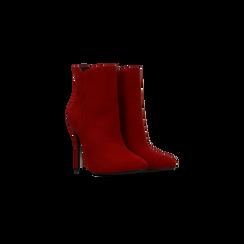 Tronchetti rossi scamosciati, tacco stiletto 8 cm, Scarpe, 124895652MFROSS035, 002