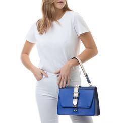 Borsa media blu in eco-pelle con borchie, Borse, 131992421EPBLUEUNI, 002a