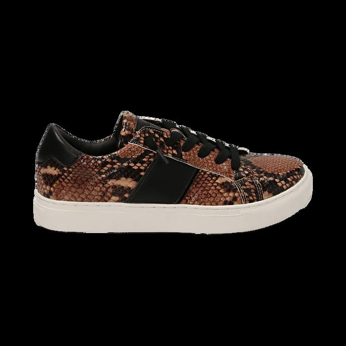 Sneakers marroni stampa pitone, Primadonna, 162619071PTMARR035