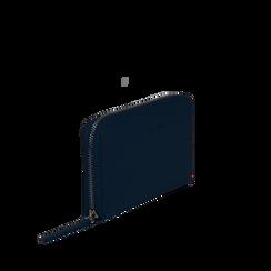 Portafoglio blu in eco-pelle a tre scomparti, Borse, 133723501EPBLUEUNI, 002a