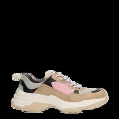 Sneakers beige dad shoes, Scarpe, 124180229TSBEIG036, 001a