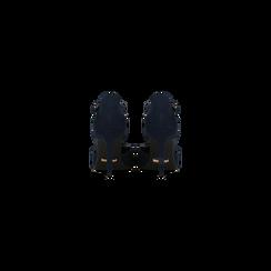 Décolleté blu scamosciate con cinturino a T, tacco 5 cm, Scarpe, 124820729MFBLUE, 003 preview