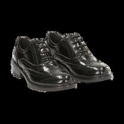 Stringate nere in eco-pelle abrasivata con lavorazione Duilio, Scarpe, 140618203ABNERO036, 002 preview