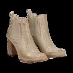 Chelsea boots traforati beige in vitello, tacco 8,50 cm , Scarpe, 138900880VIBEIG036, 002 preview