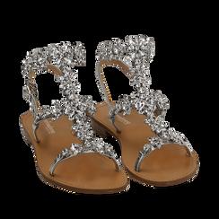 Sandali gioiello argento in eco-pelle laminata, Chaussures, 154921933LMARGE036, 002a