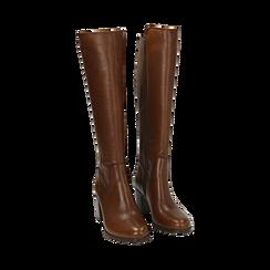 Stivali cuoio in pelle, tacco 7,50 cm, Primadonna, 167738002PECUOI036, 002 preview