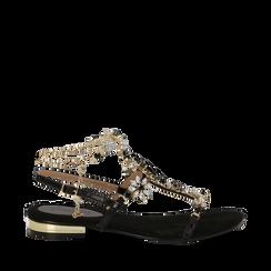 Sandali gioiello flat neri in microfibra, Primadonna, 134994222MFNERO035, 001a
