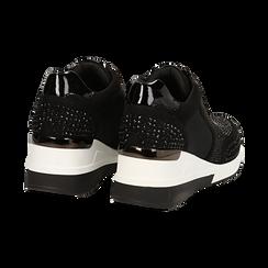 Sneakers nere in lycra con brillantini, zeppa 6 cm , Scarpe, 14A718206LYNERO035, 004 preview