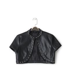 Giacca bolero nera in eco-pelle con borchie, Primadonna, 136518172EPNEROL, 001a