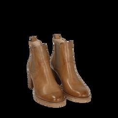 Chelsea boots cuoio in pelle, tacco 6 cm, Scarpe, 157711439PECUOI035, 002a