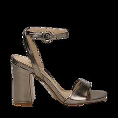 Sandali canna di fucile in eco-pelle, tacco trapezio 10,50 cm, Scarpe, 132165612LMCANN035, 001a