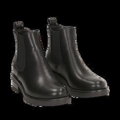 Chelsea boots neri in eco-pelle, tacco 4 cm , Scarpe, 140692012EPNERO035, 002a
