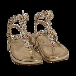 Sandali infradito gioiello oro in eco-pelle laminata, Primadonna, 154951992LMOROG036, 002 preview