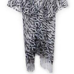 Poncho nero/argento in tessuto laminato , Abbigliamento, 13B445053LMNEARUNI, 002 preview