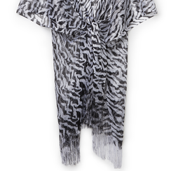 Poncho nero/argento in tessuto laminato , Abbigliamento, 13B445053LMNEARUNI, 002a