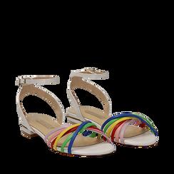 Sandali flat multilistino bianchi in eco-pelle, Scarpe, 132174722EPBIAN038, 002a