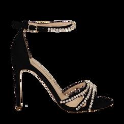 Sandali neri in raso con strass argento, tacco stiletto 11 cm, Scarpe, 132120689RSNERO035, 001a