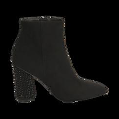 Ankle boots neri in microfibra, tacco gioiello 9 cm, Primadonna, 164981396MFNERO037, 001 preview