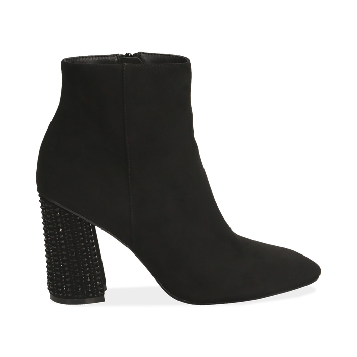 Ankle boots neri in microfibra, tacco gioiello 9 cm, Primadonna, 164981396MFNERO037