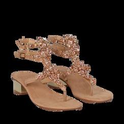 Sandali gioiello infradito nude in microfibra, tacco 6 cm, Primadonna, 134986238MFNUDE035, 002a