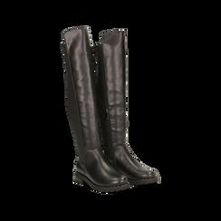 Stivali neri con gambale lungo elasticizzato, tacco basso, Primadonna, 120682917EPNERO036, 002
