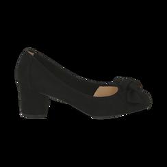 Escarpins noir en microfibre avec noeud, talon 5,50 cm , Chaussures, 152182281MFNERO037, 001 preview
