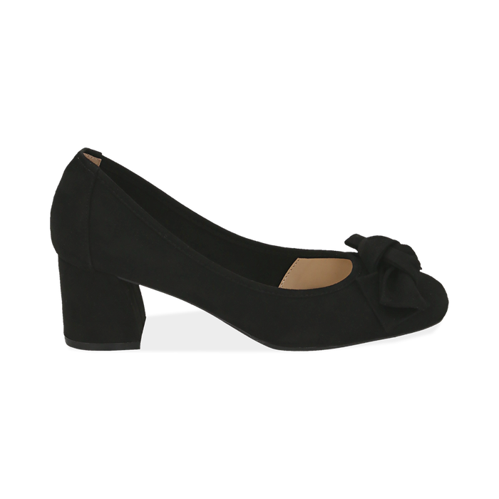 Escarpins noir en microfibre avec noeud, talon 5,50 cm , Chaussures, 152182281MFNERO037