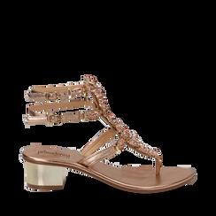 Sandali gioiello infradito rosa in laminato, tacco 6 cm, Primadonna, 134986238LMROSA035, 001a