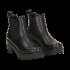 Chelsea boots neri, tacco 6 cm, Primadonna, 162808601EPNERO035, 002 preview