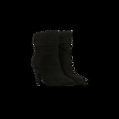 Tronchetti neri con gambale morbido, tacco 8 cm, 124985788MFNERO035, 002