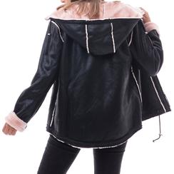Giacca nero/rosa in microfibra, Abbigliamento, 146501904MFNERA3XL, 002a