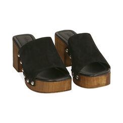 Sandali neri in camoscio, tacco 7,5 cm , Primadonna, 174304850CMNERO035, 002 preview