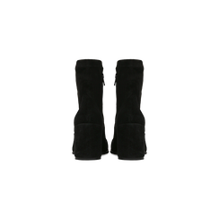 Tronchetti neri in vero camoscio, tacco quadrato 5 cm, Primadonna, 129809845CMNERO, 003 preview