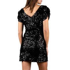 Minidress nero con paillettes, Primadonna, 15B411405TSNEROM, 002a