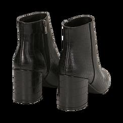 Ankle boots neri stampa cocco, tacco 7,5 cm , Stivaletti, 142762715CCNERO036, 004 preview