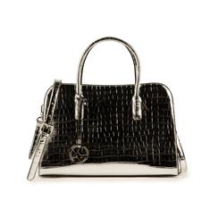 Bolsa de mano en eco-piel con estampado de cocodrilo color plateado, Primadonna, 155702495CCARGEUNI, 001 preview