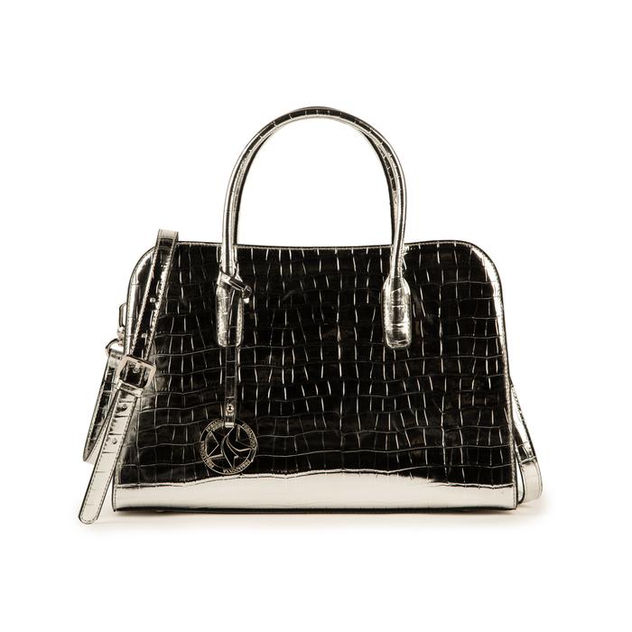 Bolsa de mano en eco-piel con estampado de cocodrilo color plateado, Primadonna, 155702495CCARGEUNI