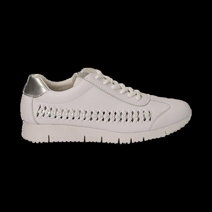 Sneakers bianche in eco-pelle , Scarpe, 130609571EPBIAN035