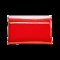Pochette bustina rossa in ecopelle vernice, Primadonna, 123308136VEROSSUNI, 002a