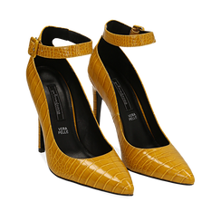 Décolleté gialle in eco-pelle effetto coccodrillo, tacco 11 cm , Scarpe, 142182061CCGIAL035, 002a