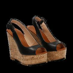 Sandali platform neri in eco-pelle, zeppa in sughero 12 cm , Scarpe, 134907982EPNERO035, 002a