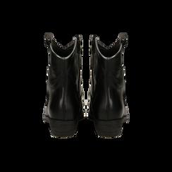 Stivaletti Texani in vera pelle con ricamo stella nera, tacco 5 cm, Primadonna, 128900200VINERO036, 003 preview