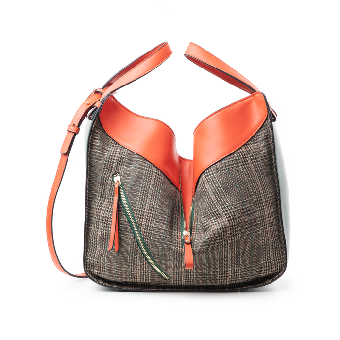 Borsa grande arancio in eco-pelle con dettagli in tweed , Borse, 142400200EPARANUNI