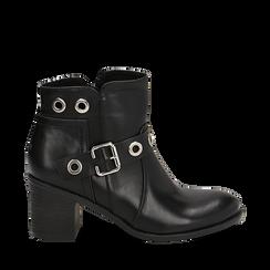 Ankle boots neri in eco-pelle con oblò, tacco 7 cm, Scarpe, 130682986EPNERO035, 001a