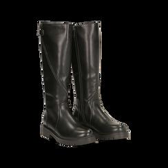 Stivali neri flat con suola carrarmato, tacco basso, 120618155EPNERO036, 002
