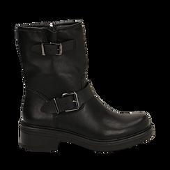 Biker boots con fibbie neri in eco-pelle, tacco 4,5 cm , Stivaletti, 14A702711EPNERO035, 001a